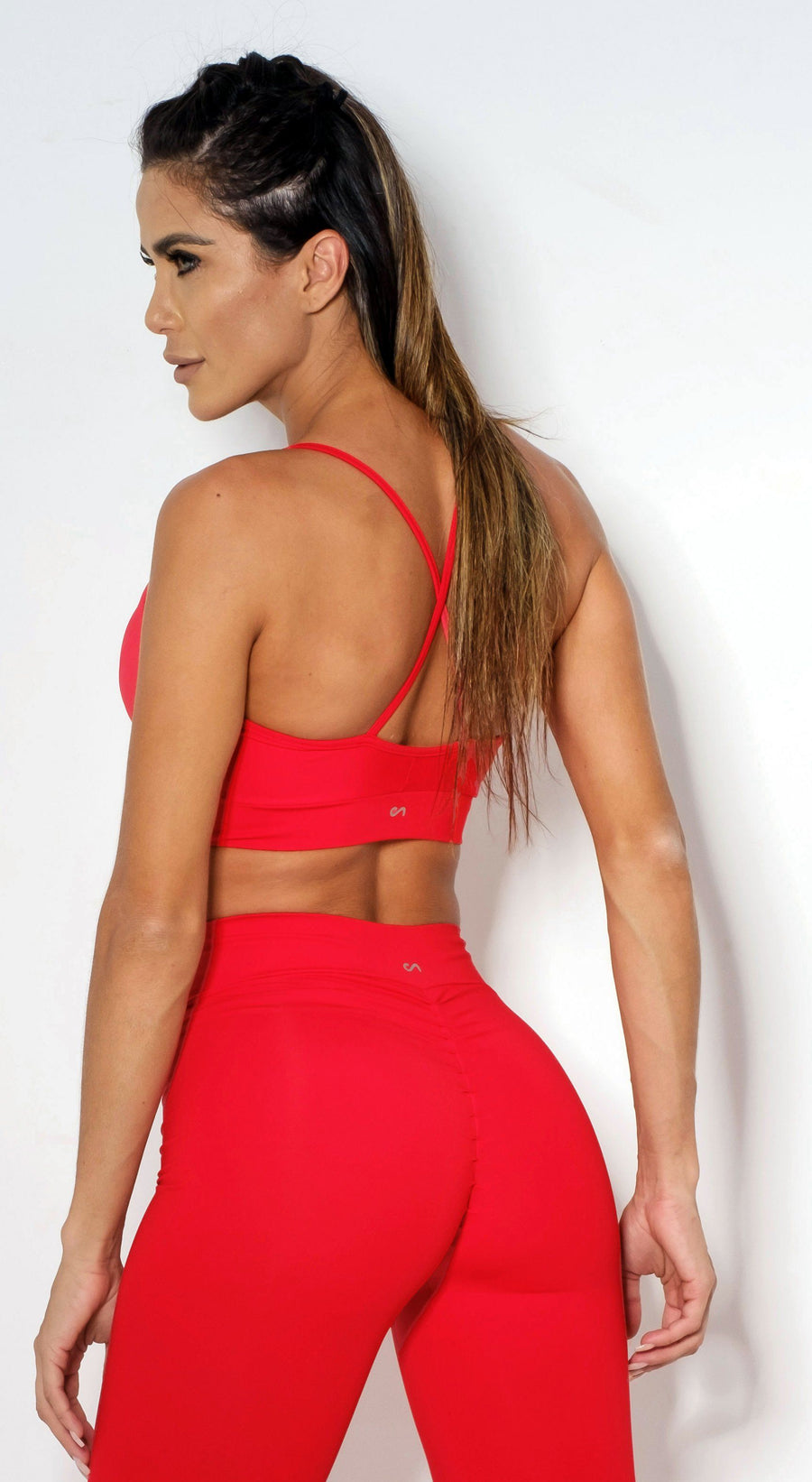 Brazilian Sports Bra - Strappy Hot Red