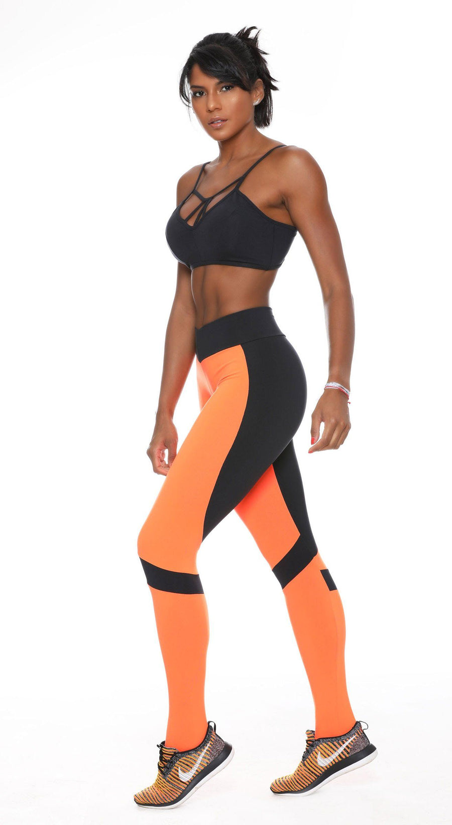 Brazilian Gym Legging - V Shape Fit 2 Vibes Orange & Black