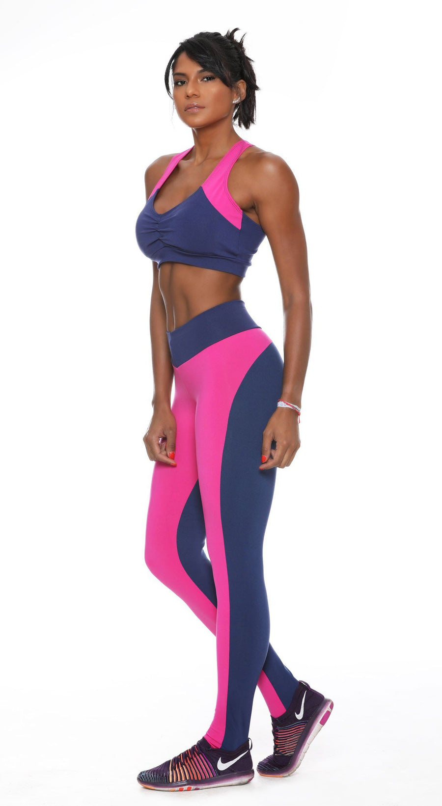 Brazilian Sports Bra - Top Fit One Navy & Hot Pink