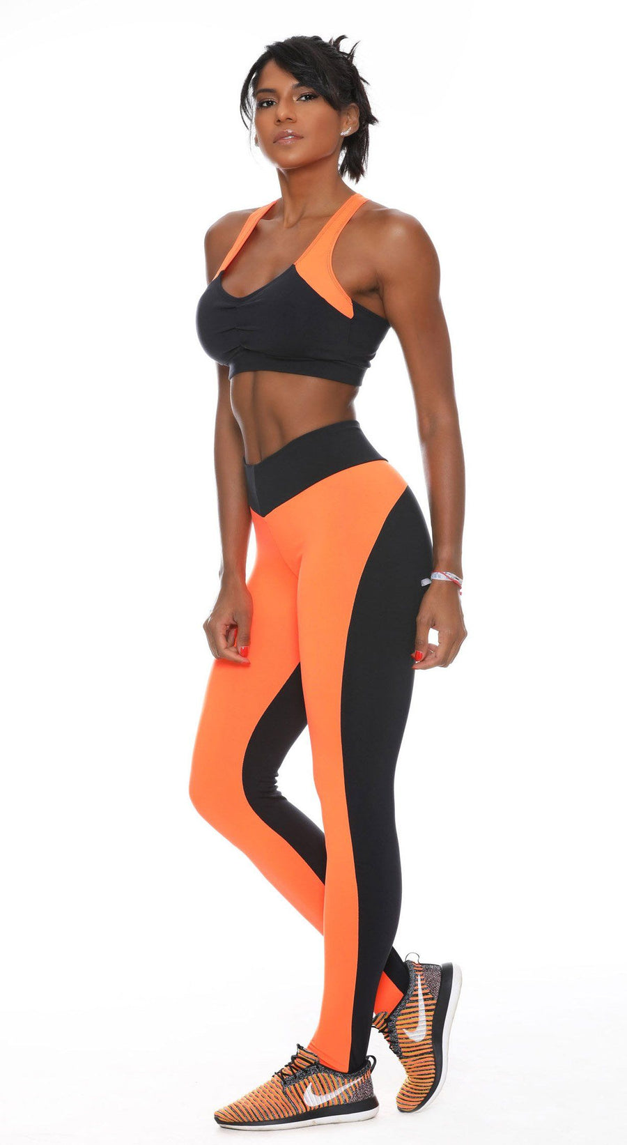 Brazilian Gym Legging - V Shape Fit Vibes Black & Orange