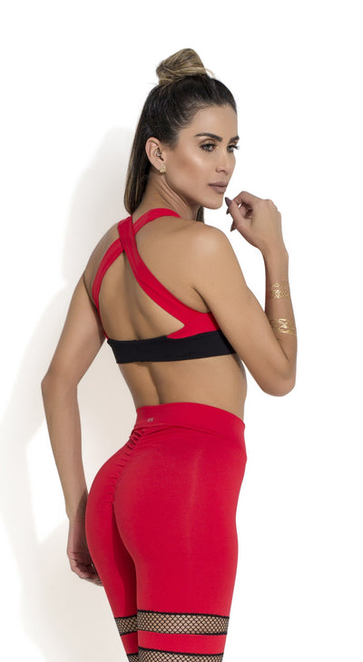Brazilian Sports Bra - Padded Bra Red & Black