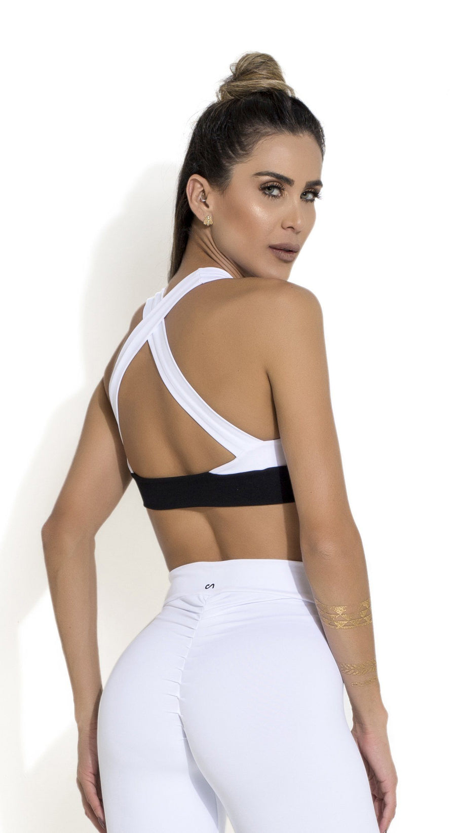 Brazilian Sports Bra - Padded Bra Black & White