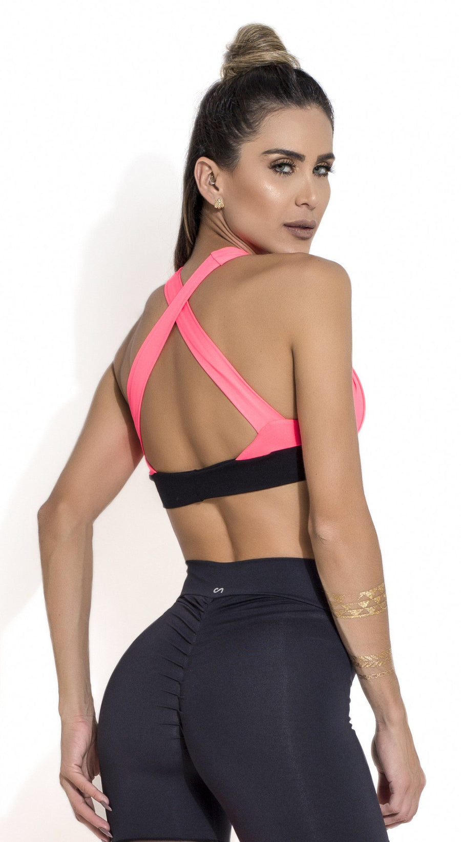 Brazilian Sports Bra - Padded Bra Salmon & Black