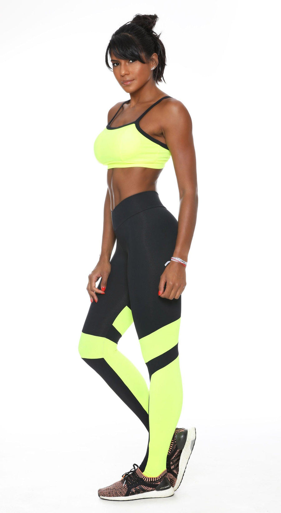 Brazilian Gym Legging - V Shape Fit 2  Vibes Black & Neon