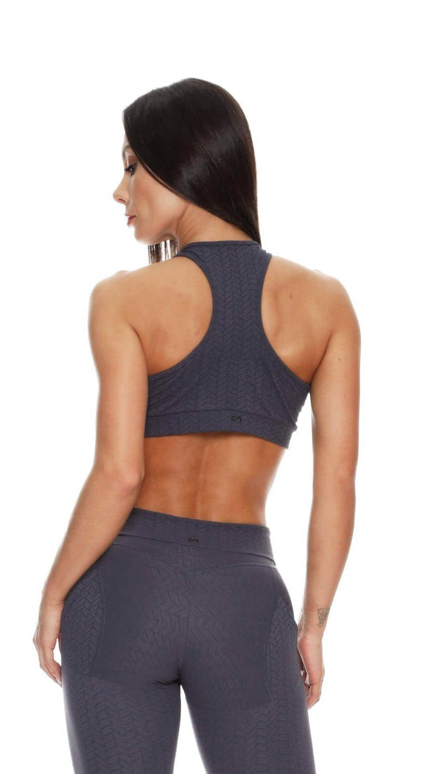 Brazilian Sports Bra - Top Jacquard Gray