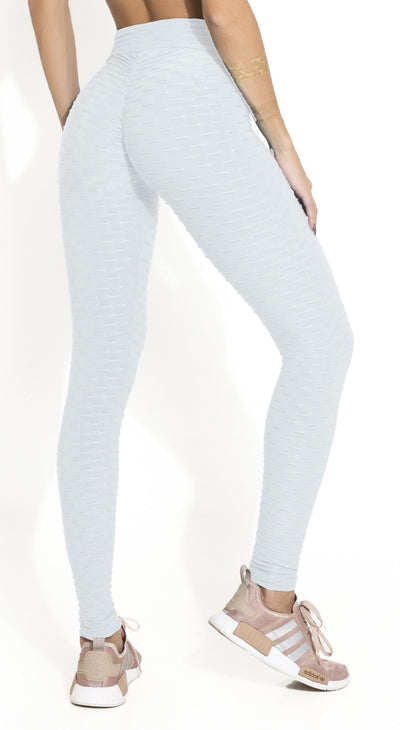 Brazilian Legging - Anti Cellulite Honeycomb Textured Scrunch Booty White
