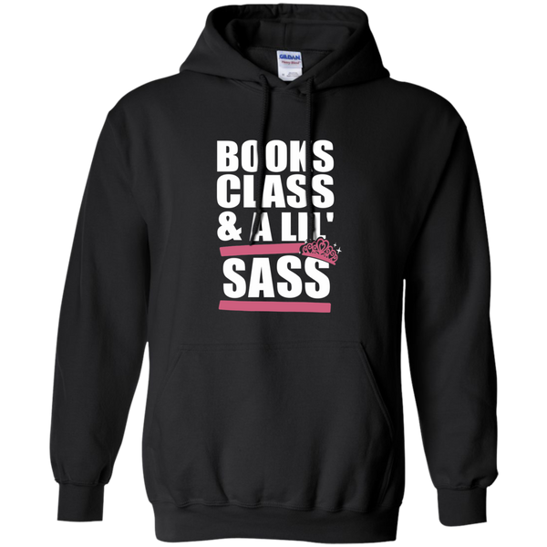 Books Class and A Little Sass Pullover Hoodie 8 oz - TeachersLoungeShop - 1