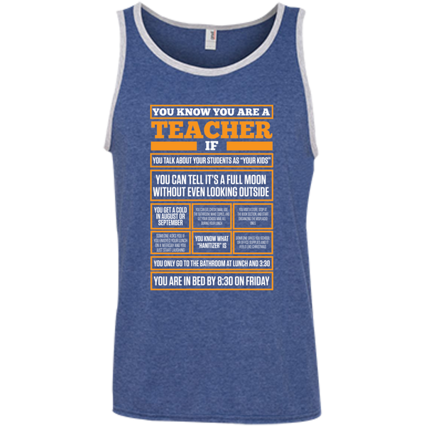 You know You are a Teacher if  100% Ringspun Cotton Tank Top - TeachersLoungeShop - 6