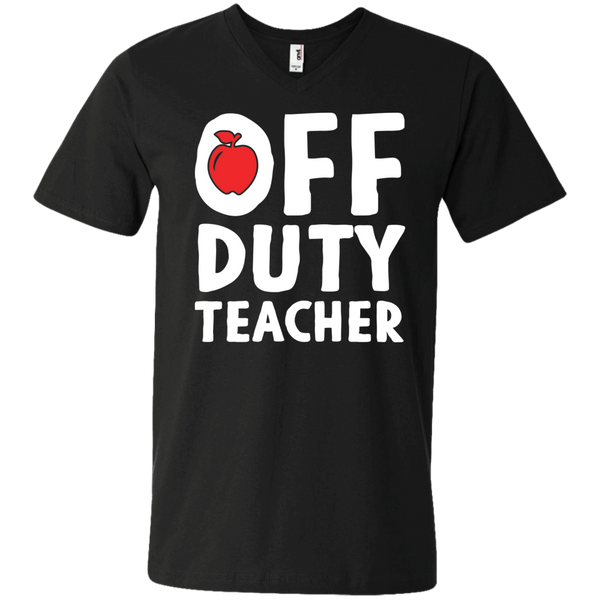 Off Duty Teacher  Men's Printed V-Neck T - TeachersLoungeShop - 2