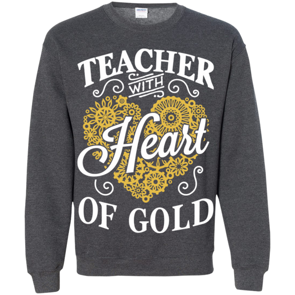 Teacher with Heart of Gold  Crewneck Pullover Sweatshirt  8 oz - TeachersLoungeShop - 9