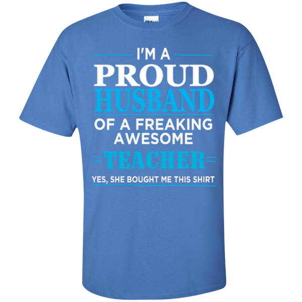 I'm a Proud Husband of a Freaking Awesome Teacher T-shirt Hoodie - TeachersLoungeShop - 5