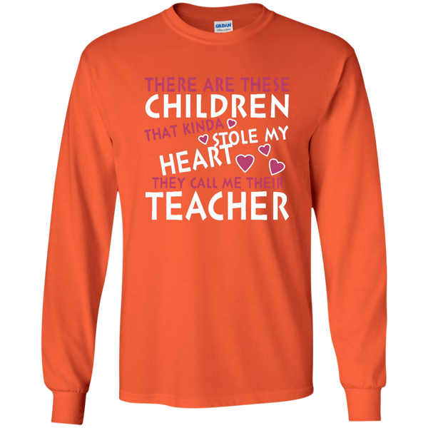 There are these Children that Kinda Stole My Heart They call Me Their Teacher LS Ultra Cotton Tshirt - TeachersLoungeShop - 3