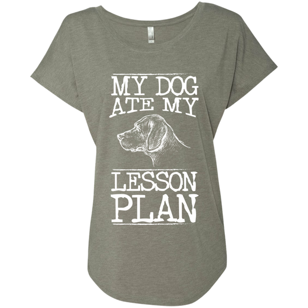 My Dog Ate my Lesson Plan  Next Level Ladies Triblend Dolman Sleeve - TeachersLoungeShop - 3