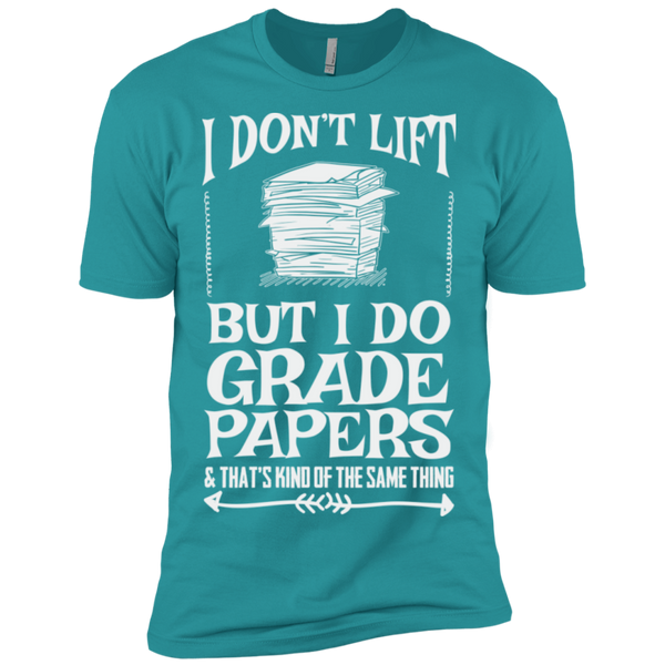 I Dont Lift but I do Grade papers Level Premium Short Sleeve Tee - TeachersLoungeShop - 12