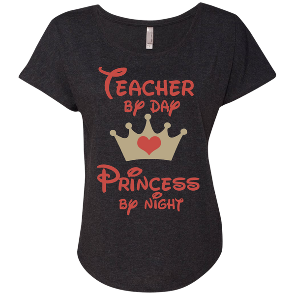Teacher by Day Princess by Night Next Level Ladies Triblend Dolman Sleeve - TeachersLoungeShop - 6