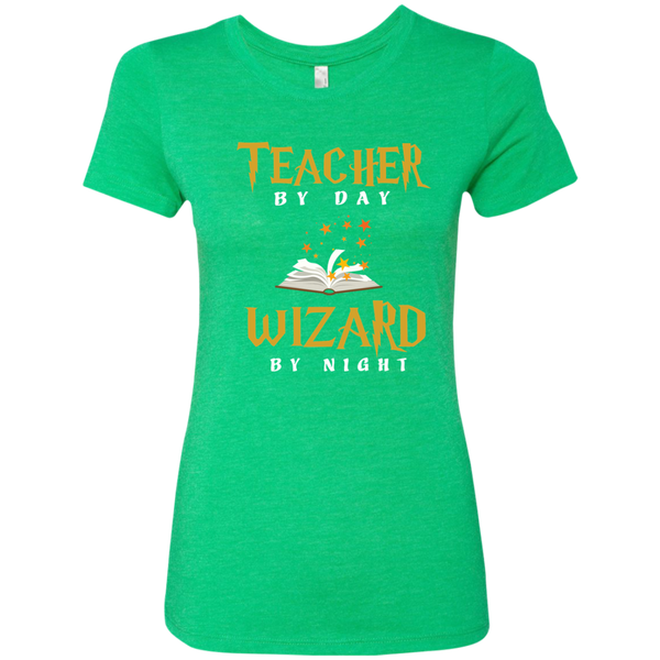 Teacher by Day Wizard by Night Next Level Ladies Triblend T-Shirt - TeachersLoungeShop - 2