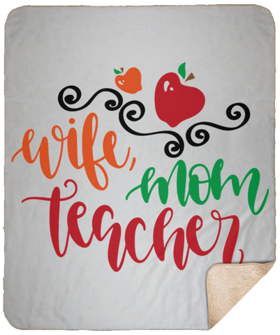 Wife  Mom Teacher Large Fleece Sherpa Blanket - 50x60