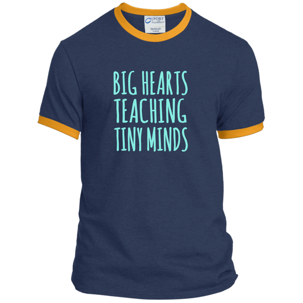 Big Hearts Teaching Tiny Minds Ringer Tee - TeachersLoungeShop - 1