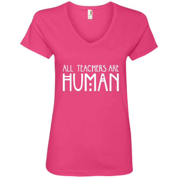 All Teachers Are Human Ladies' V-Neck Tee - TeachersLoungeShop - 2
