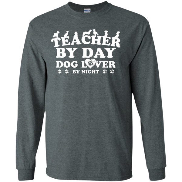 Teacher By Day Dog Lover by Night LS Ultra Cotton Tshirt - TeachersLoungeShop - 10