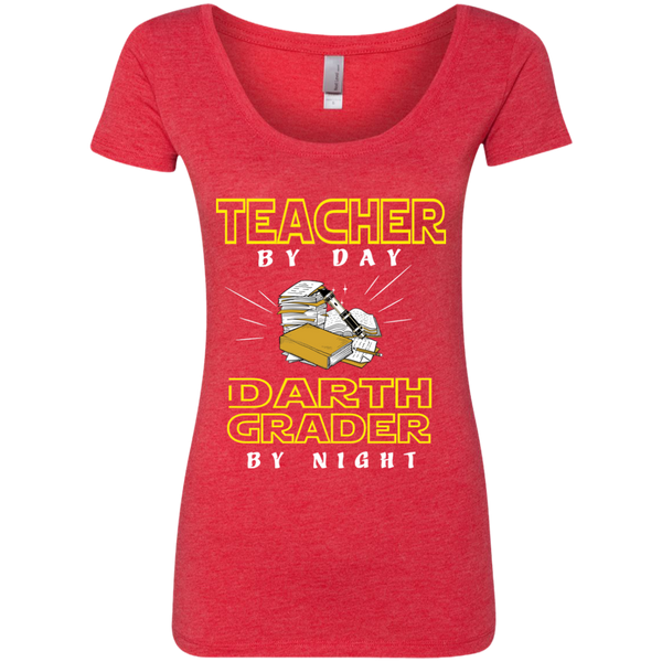 Teacher By Day Darth Grader By Night Next Level Ladies Triblend Scoop - TeachersLoungeShop - 5