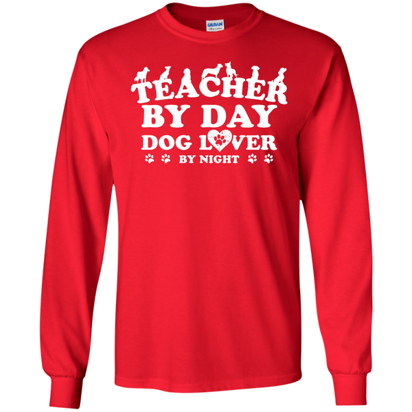 Teacher By Day Dog Lover by Night LS Ultra Cotton Tshirt - TeachersLoungeShop - 5