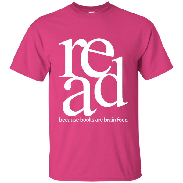 Read Because Books Are Brain Food Cotton T-Shirt - TeachersLoungeShop - 2