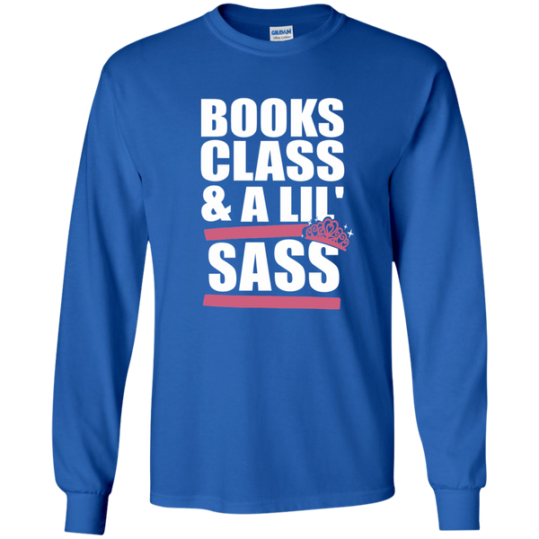 Books Class and A Little Sass LS Ultra Cotton Tshirt - TeachersLoungeShop - 8