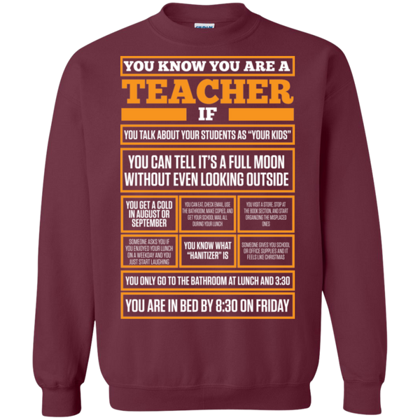You know You are a Teacher if  Crewneck Pullover Sweatshirt  8 oz - TeachersLoungeShop - 2