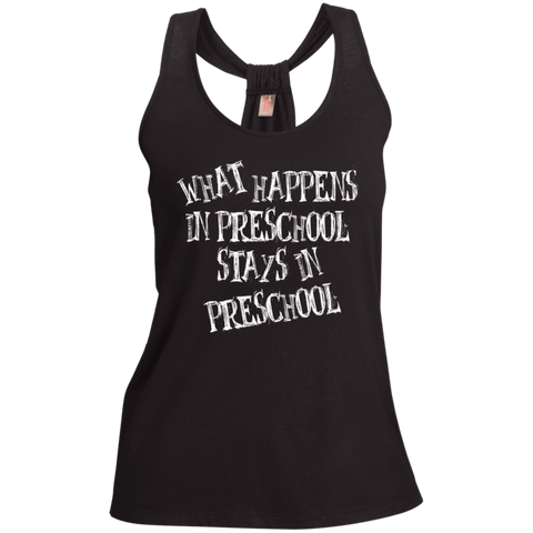 What Happens in Preschool Stays in Preschool Shimmer Loop Back Tank - TeachersLoungeShop - 1