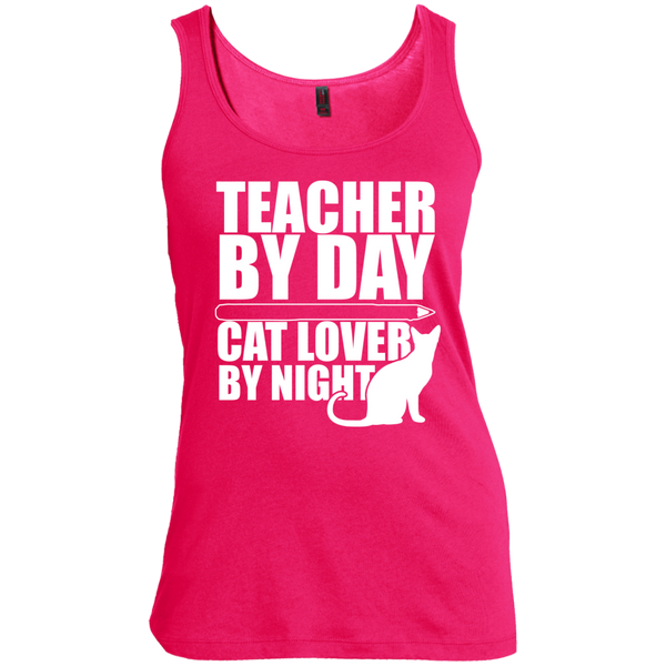 Teacher by Day Cat Lover by Night Womens Scoop Neck Tank Top - TeachersLoungeShop - 4