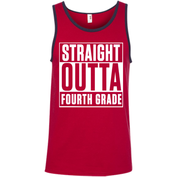 Straight Outta Fourth Grade   Ringspun Cotton Tank Top - TeachersLoungeShop - 5