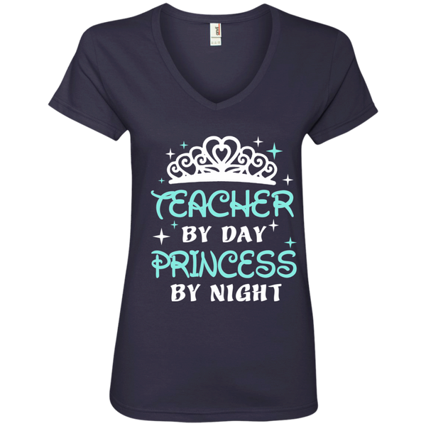 Teacher By Day Princess By Night ver2 Ladies' V-Neck Tee - TeachersLoungeShop - 4