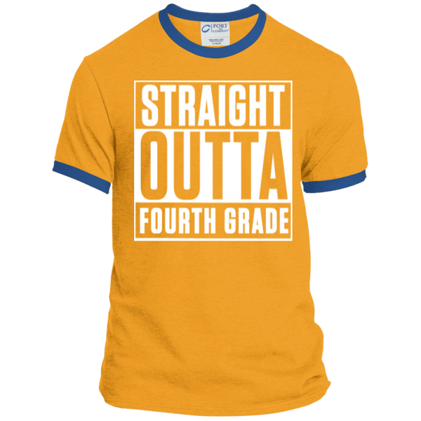 Straight Outta Fourth Grade  Ringer  Tee - TeachersLoungeShop - 4