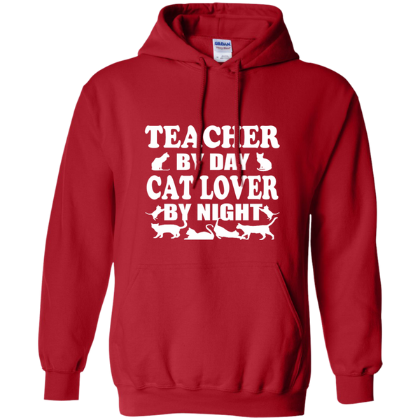 Teacher by Day Cat Lover by Night Pullover Hoodie 8 oz - TeachersLoungeShop - 11