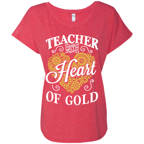 Teacher with Heart of Gold  Level Ladies Triblend Dolman Sleeve - TeachersLoungeShop - 7