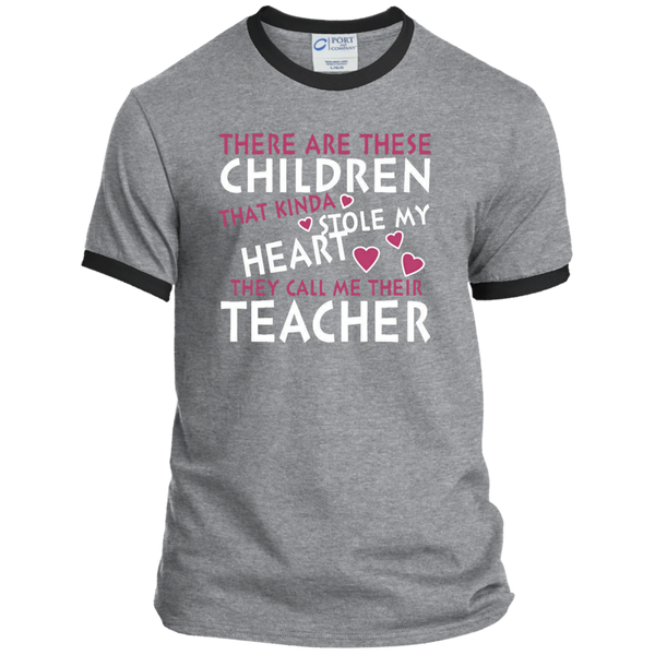 There are these Children that Kinda Stole My Heart They call Me Their Teacher Ringer Tee - TeachersLoungeShop - 2