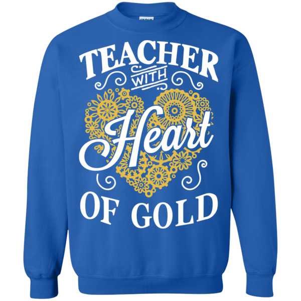 Teacher with Heart of Gold  Crewneck Pullover Sweatshirt  8 oz - TeachersLoungeShop - 4