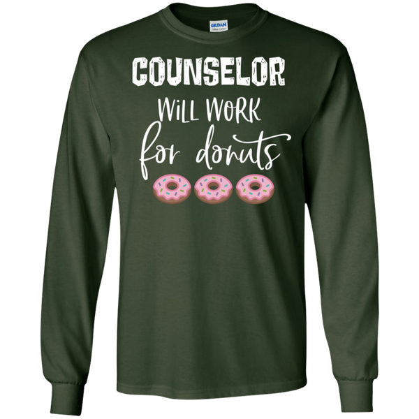 Counselor  will work for donuts   LS .  T-Shirt