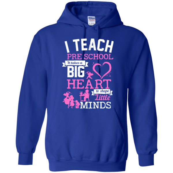 I Teach Preschool It Takes a Big Heart to Shape Little Minds Hoodie 8 oz - TeachersLoungeShop - 10