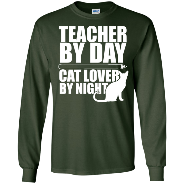 Teacher by Day Cat Lover by Night Ultra Cotton Tshirt - TeachersLoungeShop - 2