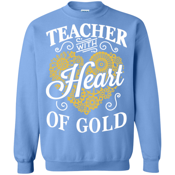 Teacher with Heart of Gold  Crewneck Pullover Sweatshirt  8 oz - TeachersLoungeShop - 10