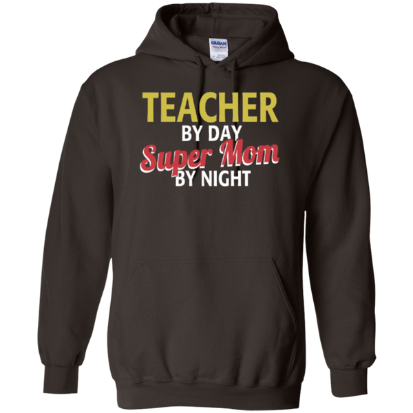 Teacher by Day Super Mom By Night  Hoodie 8 oz - TeachersLoungeShop - 4