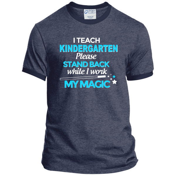 I Teach Kindergarten Please Stand Back While I Work My Magic Ringer Tee - TeachersLoungeShop - 5