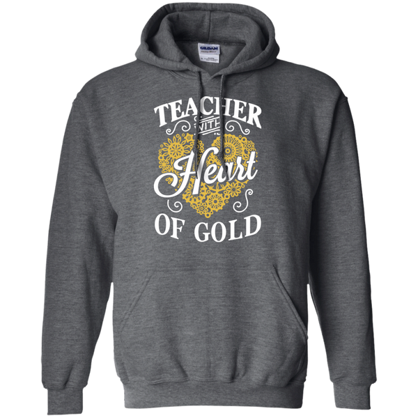 Teacher with Heart of Gold  Hoodie 8 oz - TeachersLoungeShop - 3