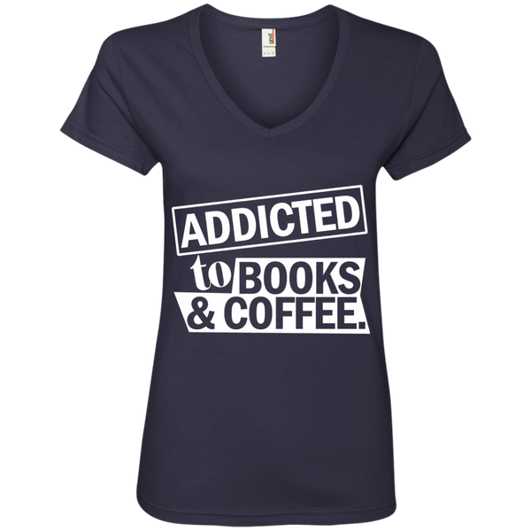 Addicted to Books and Coffee Ladies' V-Neck Tee - TeachersLoungeShop - 4