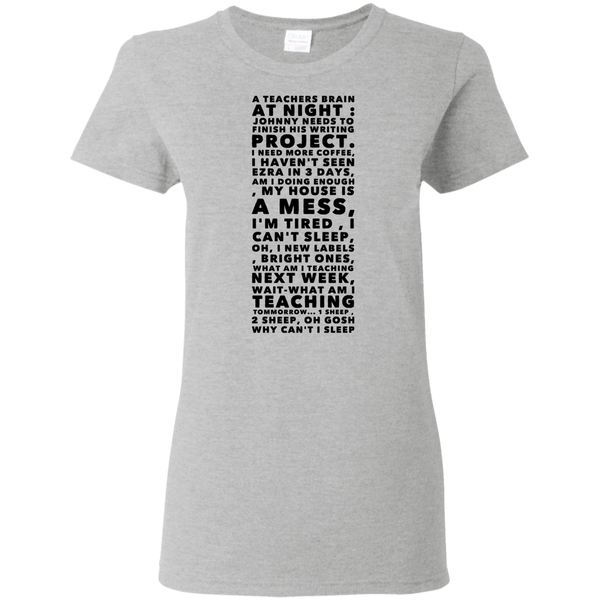 A Teachers Brain at night  Ladies Tshirt