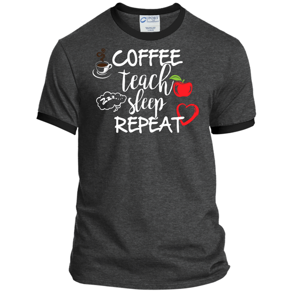 Coffee Teach Sleep Repeat Ringer Tee - TeachersLoungeShop - 3
