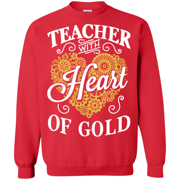 Teacher with Heart of Gold  Crewneck Pullover Sweatshirt  8 oz - TeachersLoungeShop - 3