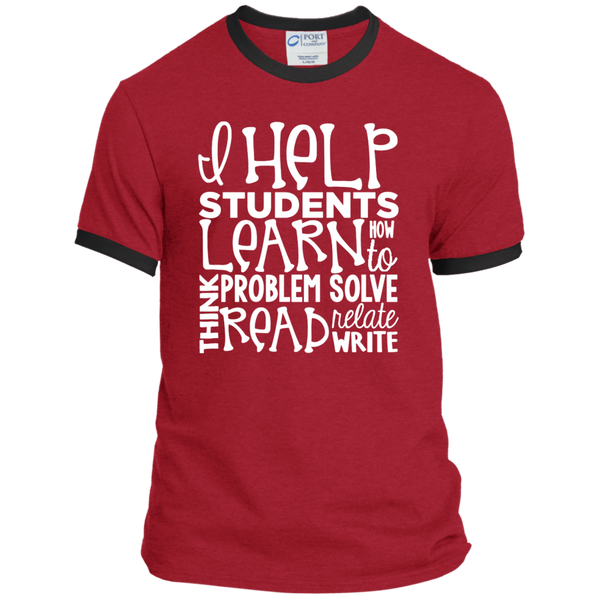 I Help Students Learn Think Problem Solve Read Relate Write Ringer Tee - TeachersLoungeShop - 7